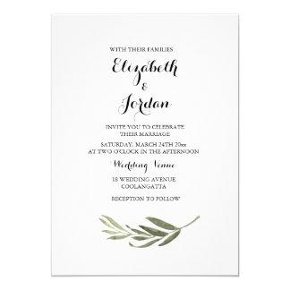 Elegant Simple Green Leaf Wedding Invitation