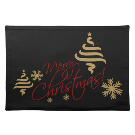 Elegant Simple Merry Christmas Wish On Black Placemat