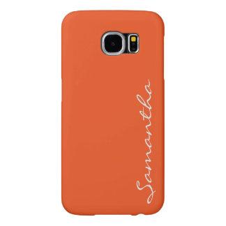 elegant simple modern chic trendy monogram orange samsung galaxy s6 cases