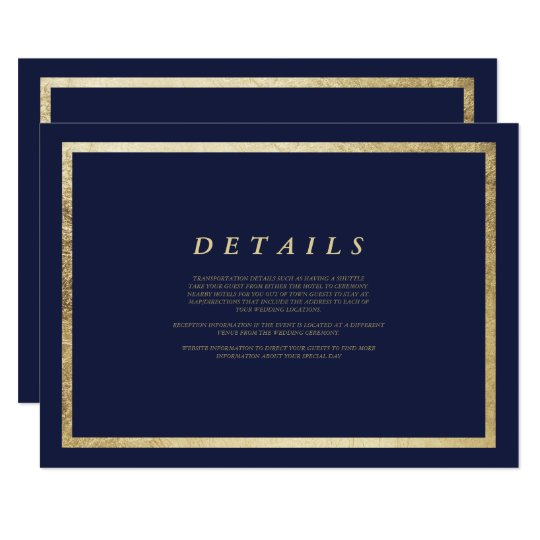 Elegant simple modern navy blue faux gold Details
