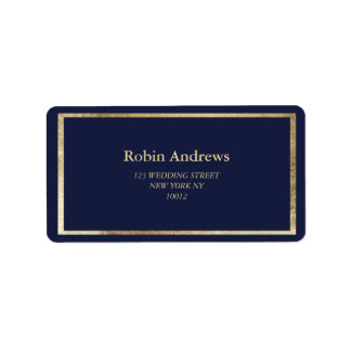 Elegant simple modern navy blue faux gold label