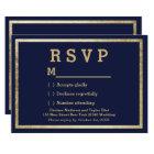 Elegant simple modern navy faux gold RSVP Card