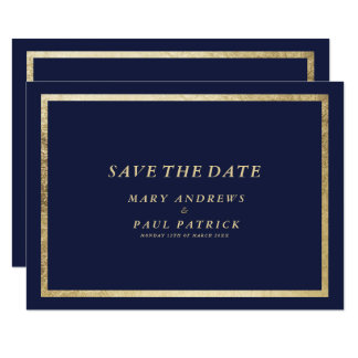 Elegant simple modern navy faux gold Save The Date Card