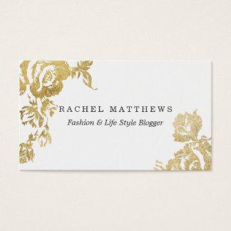Elegant Simple Modern Rose Floral Gold Faux Print Business Card