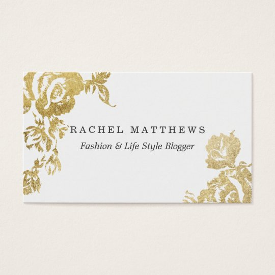 Elegant Simple Modern Rose Floral Gold Faux Print