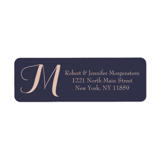 Elegant Simple Navy Blue and Pale Pink Monogram Return Address Label