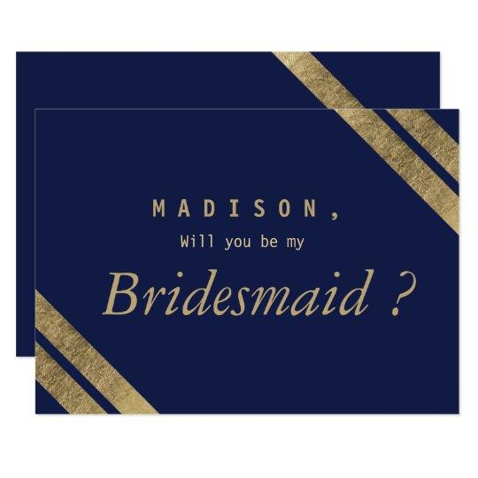 Elegant simple navy blue faux gold Bridesmaid Card