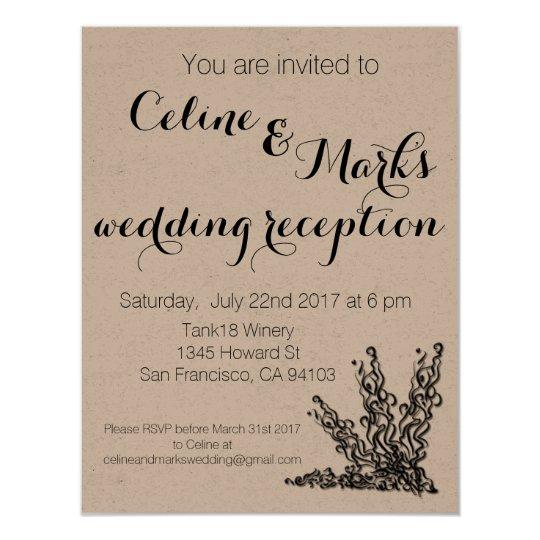 Elegant Simple Rustic Wedding Invitation