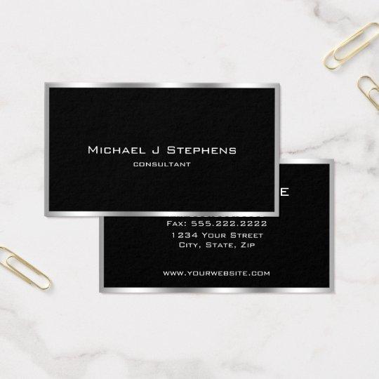 Elegant Simple Silver Border Black and Chrome Business