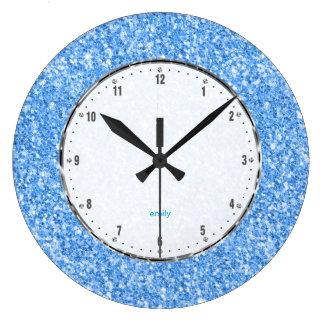 Elegant Simple Sky-Blue Glitter Texture Large Clock