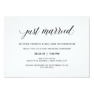 Elegant Simple Typography Just Married Celebration Card