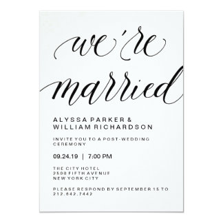Elegant Simple Typography Post Wedding Ceremony Card