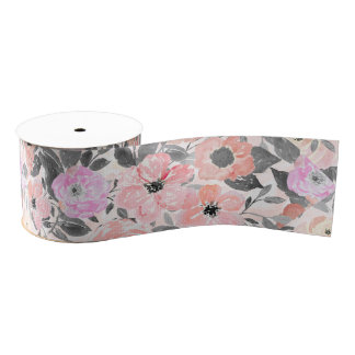 Elegant simple watercolor floral grosgrain ribbon