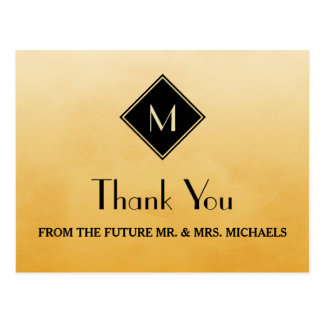 Elegant Simple Yellow With Gold Monogram Thank You Postcard