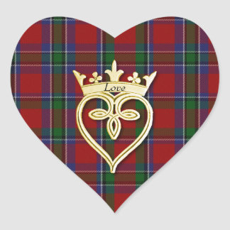Elegant Sinclair Plaid Heart Wedding Sticker