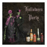 Elegant Skeletons & Poison Halloween Party 13 Cm X 13 Cm Square Invitation Card