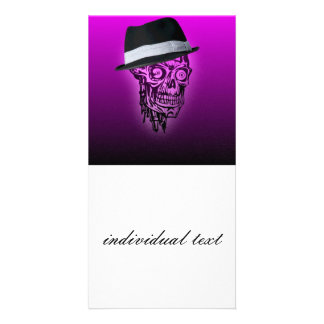 elegant skull with hat,hot pink (C) Customised Photo Card