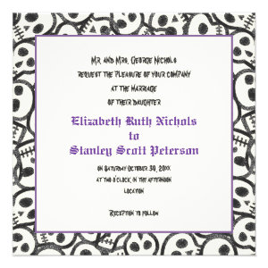 Elegant skulls Halloween purple wedding invitation