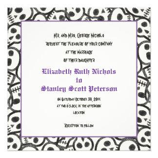 Elegant skulls Halloween purple wedding invitation