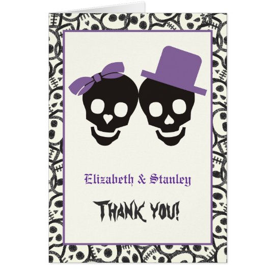 Elegant skulls Halloween purple wedding Thank You Card