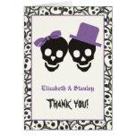 Elegant skulls Halloween purple wedding Thank You Note Card