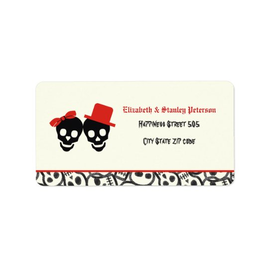 Elegant skulls Halloween red wedding label Address Label