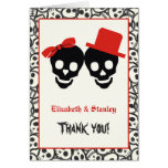 Elegant skulls Halloween red wedding Thank You