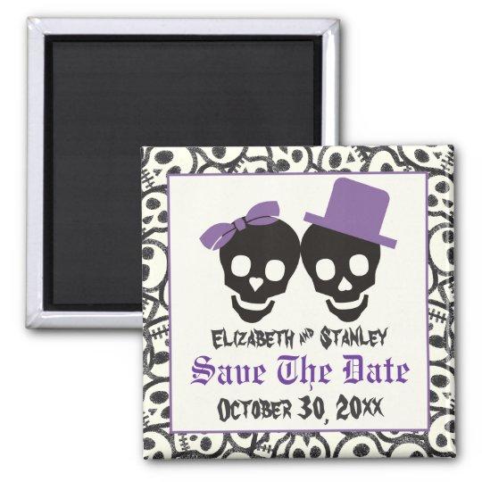Elegant skulls Halloween wedding Save the Date Magnet