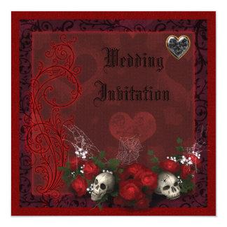 Elegant Skulls, Roses & Hearts Linen Wedding Card