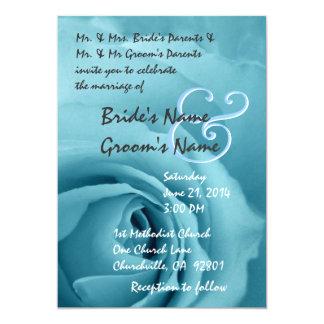 Elegant SKY BLUE DREAMS Rose Wedding Invitation