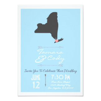Elegant Sky Blue New York State Wedding Invitation