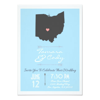 Elegant Sky Blue Ohio State Wedding Invitation