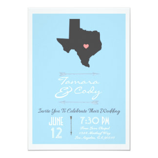 Elegant Sky Blue Texas State Wedding Invitation
