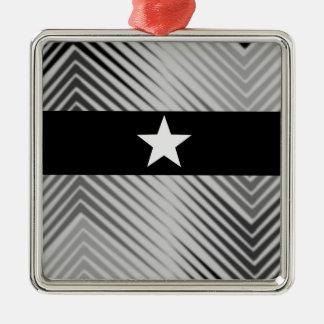 Elegant Sliver Star Silver-Colored Square Decoration