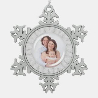Elegant Snowflake Holiday Photo Pewter Snowflake Decoration