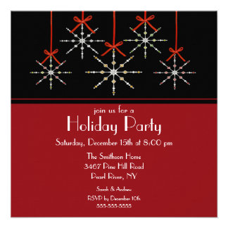 Elegant Snowflake Ornament Holiday Party Personalized Invites