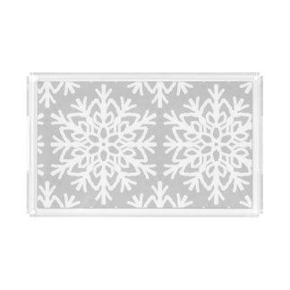 Elegant Snowflake Pattern Acrylic Tray