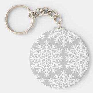 Elegant Snowflake Pattern Key Ring