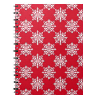 Elegant Snowflake Pattern Red and White Notebook