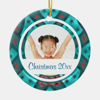 Elegant snowflake photo personalize round ceramic decoration