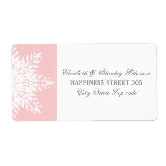 Elegant snowflake pink, white winter wedding