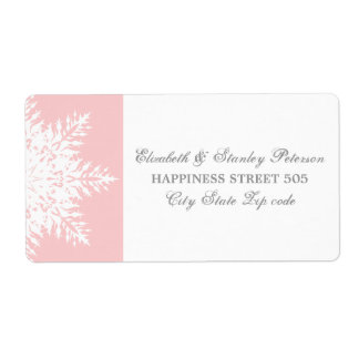Elegant snowflake pink, white winter wedding shipping label