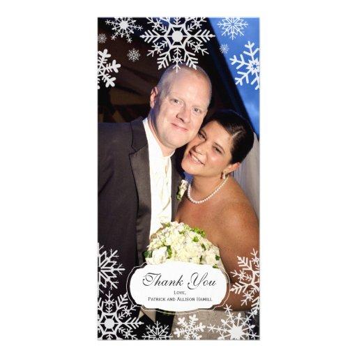 Elegant Snowflake Wedding Thank You Photo Cards