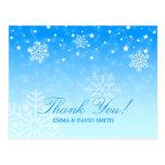 Elegant Snowflakes Blue Winter Wedding Thank You Post Cards