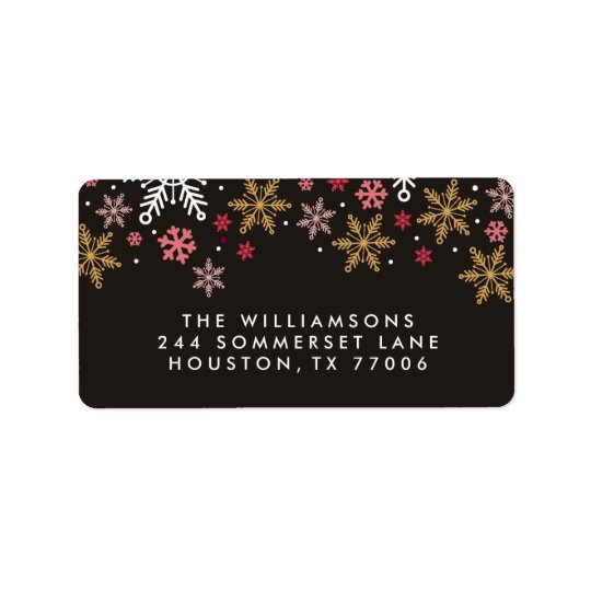 Elegant Snowflakes Personalised Holiday Labels