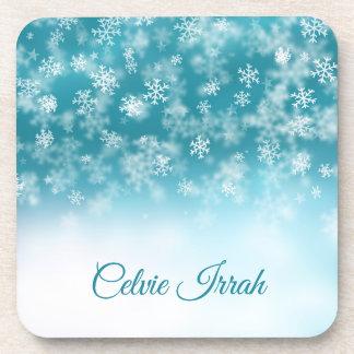 Elegant Snowflakes Personalized | Plastic Coaster