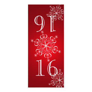 Elegant Snowflakes Red Table Number 10 Cm X 24 Cm Invitation Card