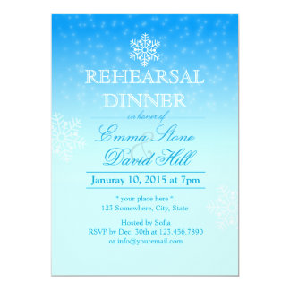 Elegant Snowflakes Winter Wedding Rehearsal Dinner 13 Cm X 18 Cm Invitation Card