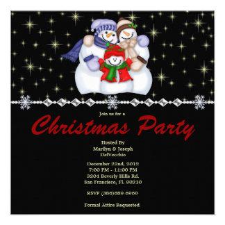 Elegant Snowman Family and Stars CUTE Christmas Ho Custom Invite