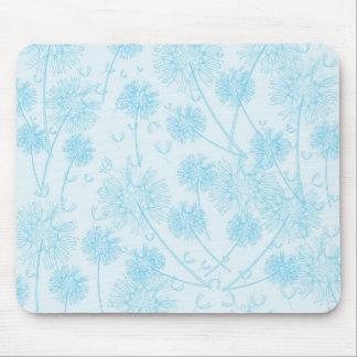 Elegant Soft Blue Dandelion Mouse Pads